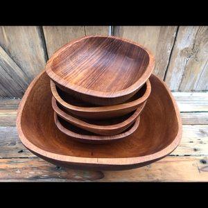 Teak wooden bowls